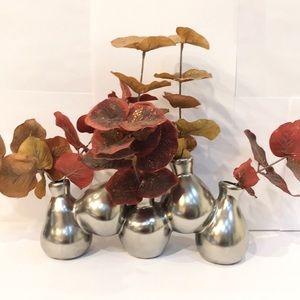 Silver Decoration Vase With Artificial Branches.